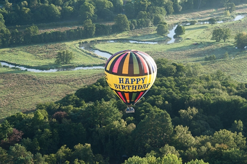 Launching from Surrey in our happy birthday balloon