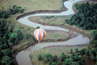 Floating over the Mara River in a hot air balloon