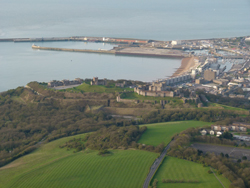 Dover Town, Dover Harbour and Dover Castle Aerial view by balloon