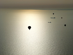 Hot air balloon flight towards France over the English Channel