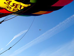 Flying under the big jets on a London Hot Air Balloon Ride - Pic courtesy Ian Sharpe