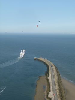 Leaving Dover Harbour on a hot air balloon flight