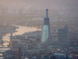 Aerial view of the Shard by the River Thames London
