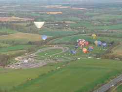 Hot air balloon ride take off from Lydden Hill Motor Racing Circuit in Kent on the Cross Channel balloon flight