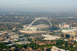 Wembley Stadium aerial view taken on a hot air balloon ride