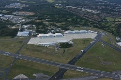 Looking back at Farnborough Airport from the South East