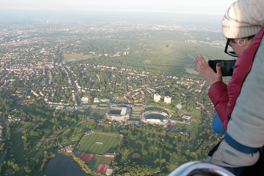 Only here for three days and New Zealanders Jessica Mulcahy and her mum Jan were lucky enough to get good weather and fly with us over London see some great sights of London including this aerial picture flying right over the Wimbledon Tennis Grounds.