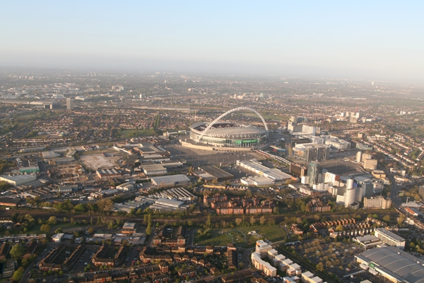 When our London Balloon Rides head to the North West, we often fly close to the Wembley Football Stadium and get some great aerial views