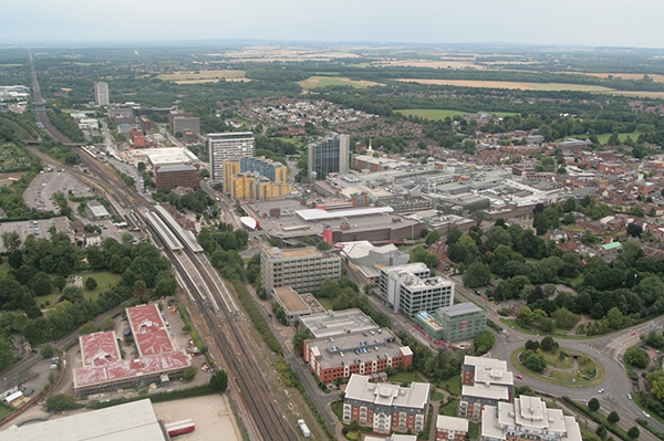 Basingstoke Town Centre aerial picture on a Hampshire balloon flight