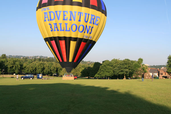 The balloon lands at Hilly Fields Park Ladywell near Lewisham after encountering changes in wind during the flight that the pilot described as