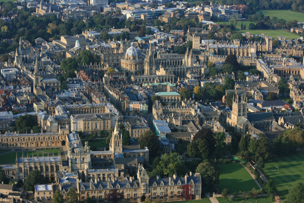 Aerial view of the Bodleian Library Oxford by hot air balloon