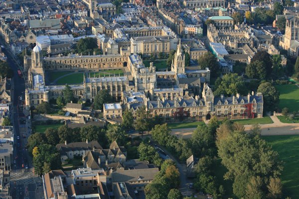 Christchurch College Oxford view from balloon