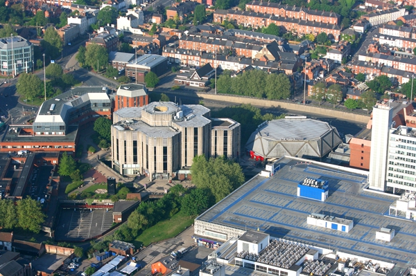 Aerial shot of Reading Hexagon, from our hot air balloon rides