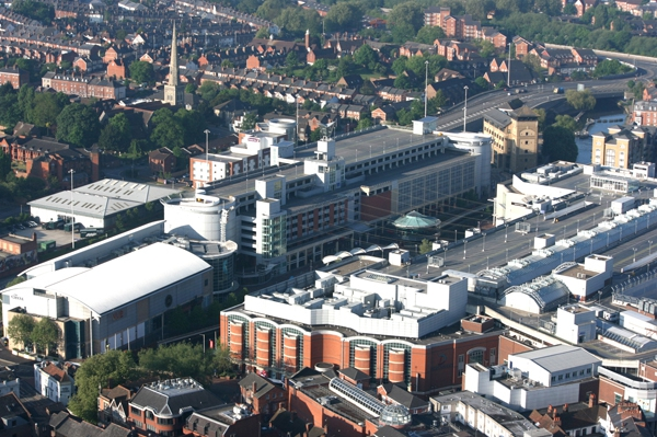 Aerial view of the Oracle shopping centre in Reading