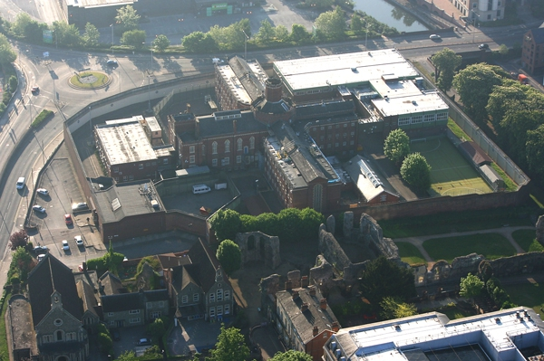 Aerial shot of Reading prison, from our hot air balloon rides