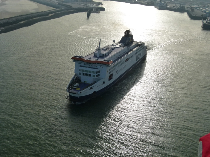 A Balloon fly past as P&O leave Calais harbour