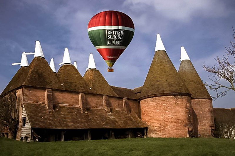 Our Balloon Rides in Kent will use the Hop Farm at Tonbridge in Kent and other sites close to Maidstone and Tunbridge Wells. Kent is full of eye catching scenery with orchards, hop farms, castles and pretty villages which are lovely to view as you glide along in your hot air balloon basket on your flight