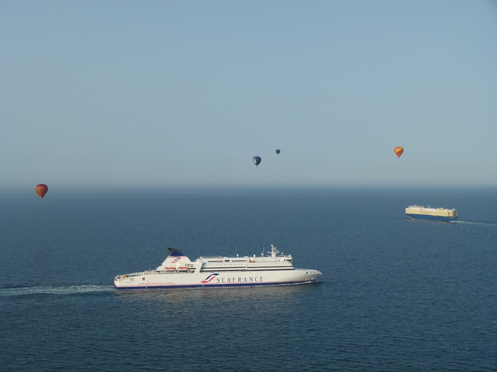 Hot air balloons and ferries on the English Channel crossing
