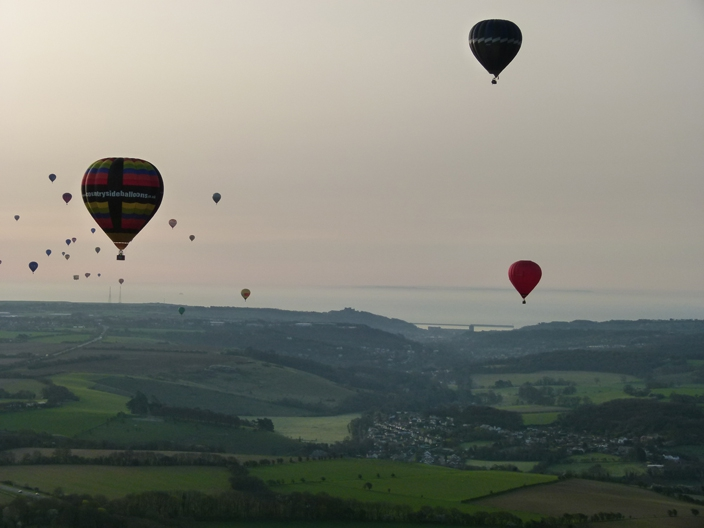 A cavalcade of balloons head out to the Kent coast