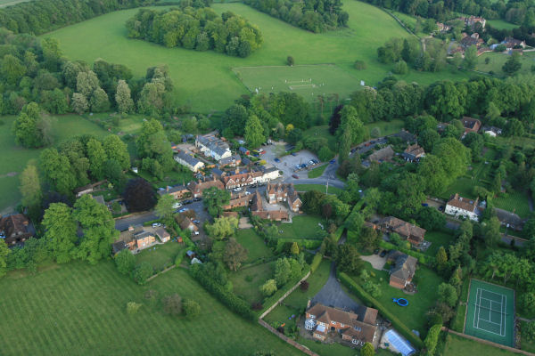 Jane Austens House, Chawton from an Adventure Balloon! (House is just below car park)