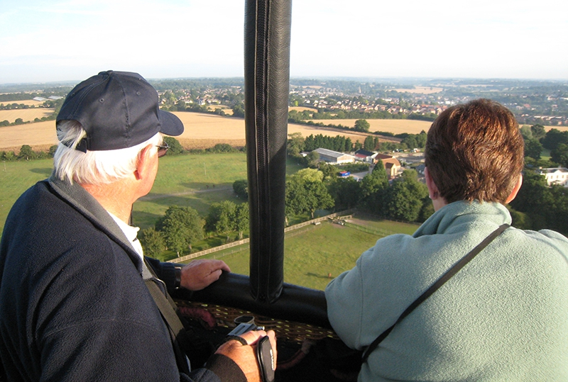 Appreciating an aerial view of the Sussex landscape on a hot air balloon flight with Adventure Balloons