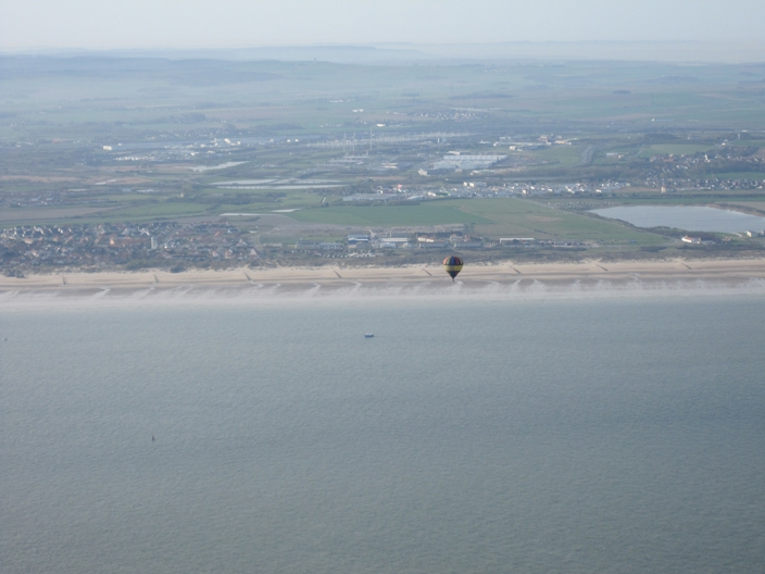 Crossing the French coastline on our balloon flight