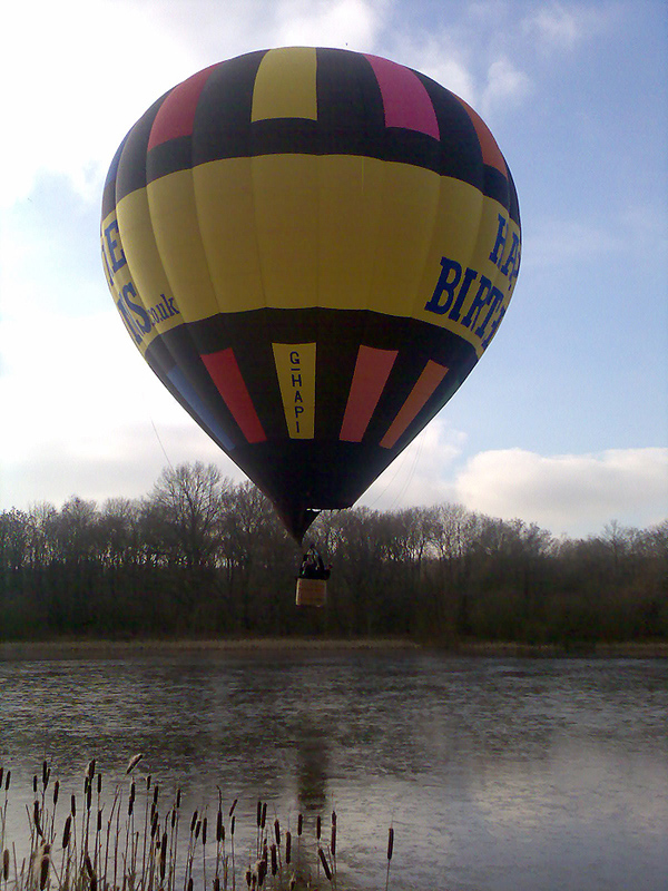 Getting close to the water in our balloon flight