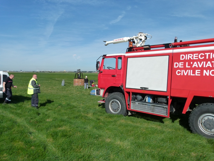 Fire truck attends our balloon landing at Calais Airport