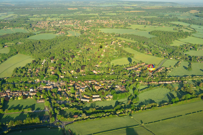A nice aerial picture of Great Missenden and the surrounding area on a summer morning hot air balloon ride looking westwards