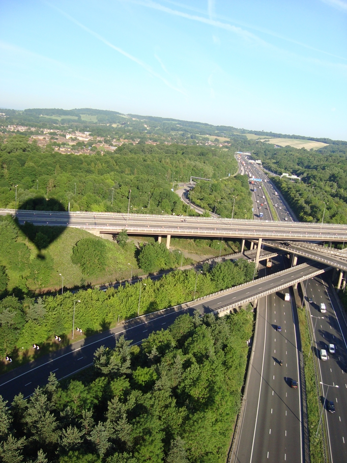 Floating over the M25 and M23 Junction near Redhill Surrey on a London weekday morning balloon flight with Adventure Balloons - Pic courtesy Ian Sharpe.