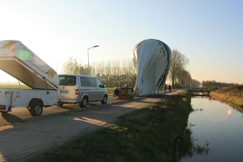 After a great gas balloon ride we land next to a dyke in Holland