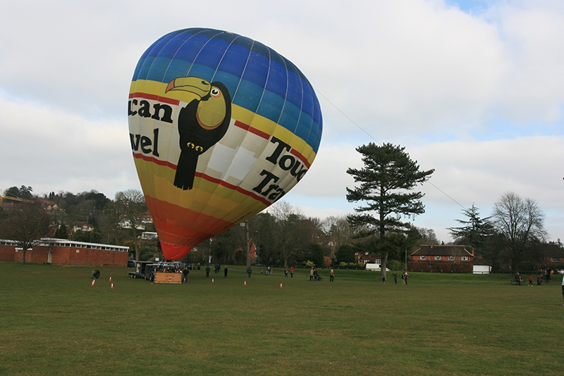 Balloon flight take off from Shalford Park in Guildford in our Toucan Travel balloon