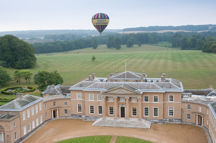 Happy Birthday balloon flight with an aerial view of Hackwood House near Basingstoke
