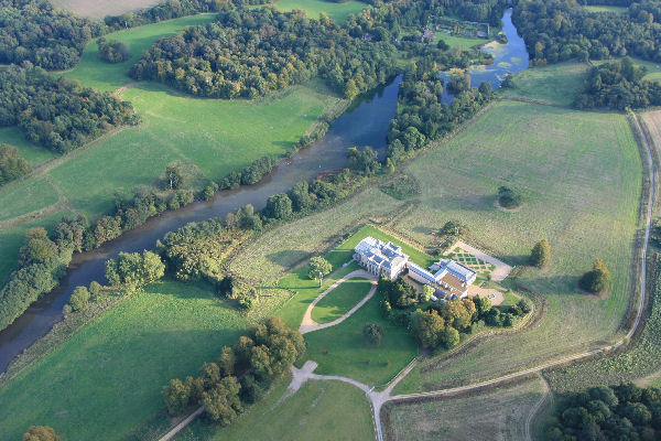 English Heritage Northington Grange aerial view by hot air balloon.