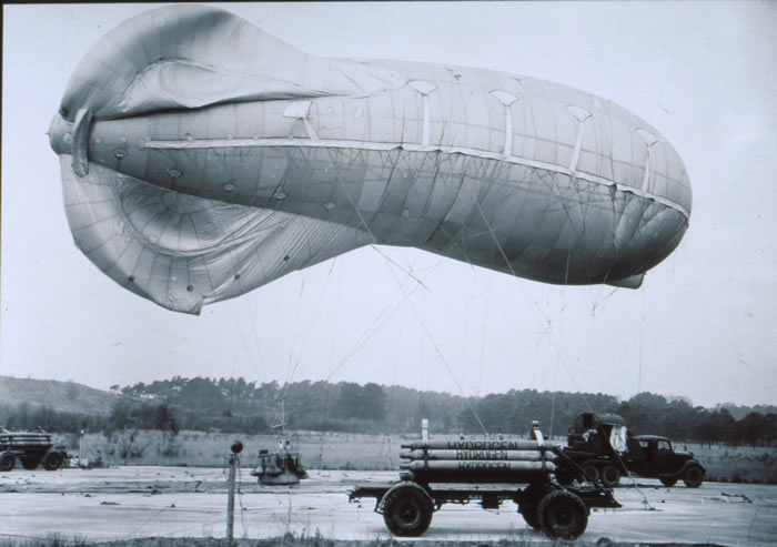 Barrage Balloon filled with hydrogen