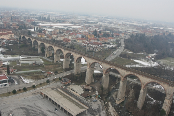 The Mondovi Railway viaduct viewed from a hot air balloon