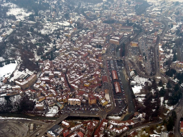 Looking down on Mondovi town centre and market place