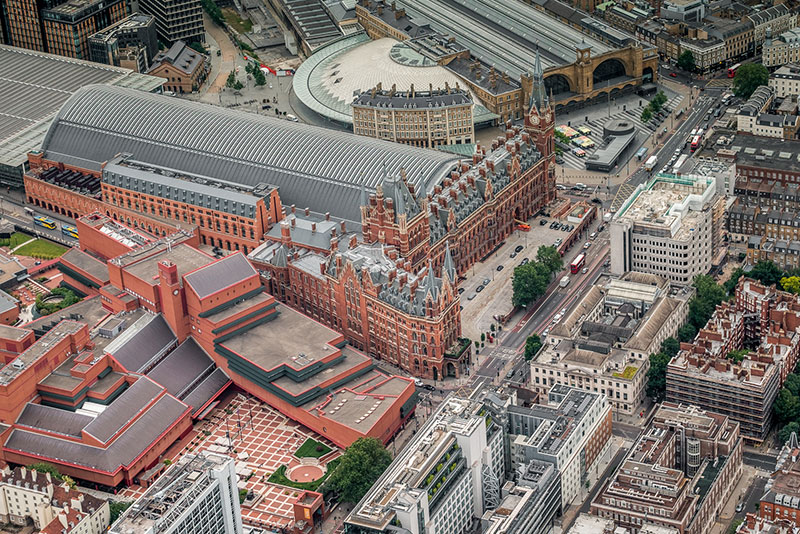 Another great aerial picture taken by Andro Loria of the entrance of St Pancras and Kings Cross Stations in London on our balloon ride.