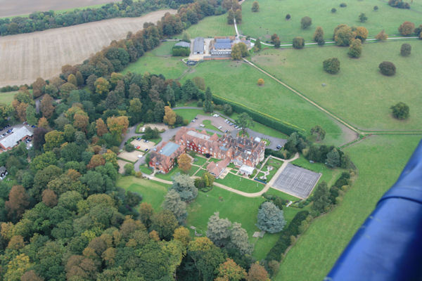 Ballooning from Pendley Manor Hotel.