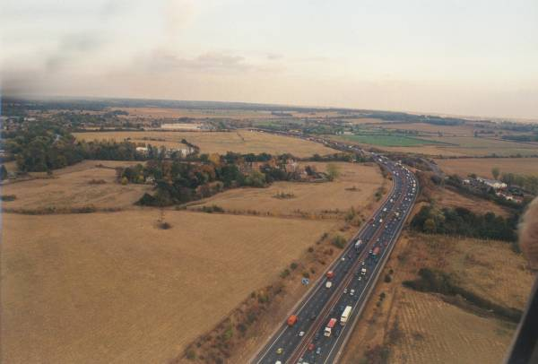 The M25 from a hot air balloon