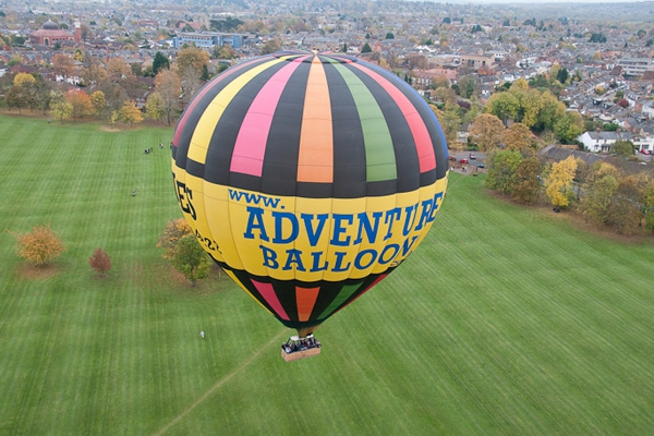 Taking off by balloon from Oxford