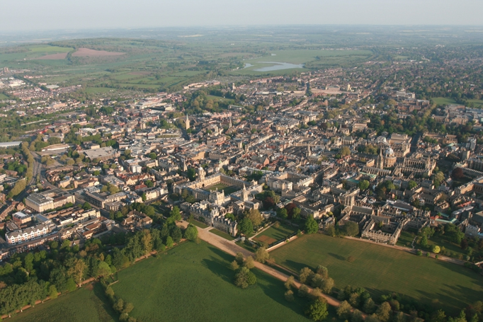 Aerial view of Oxford Colleges with Christchurch Meadows and Port Meadow in the picture