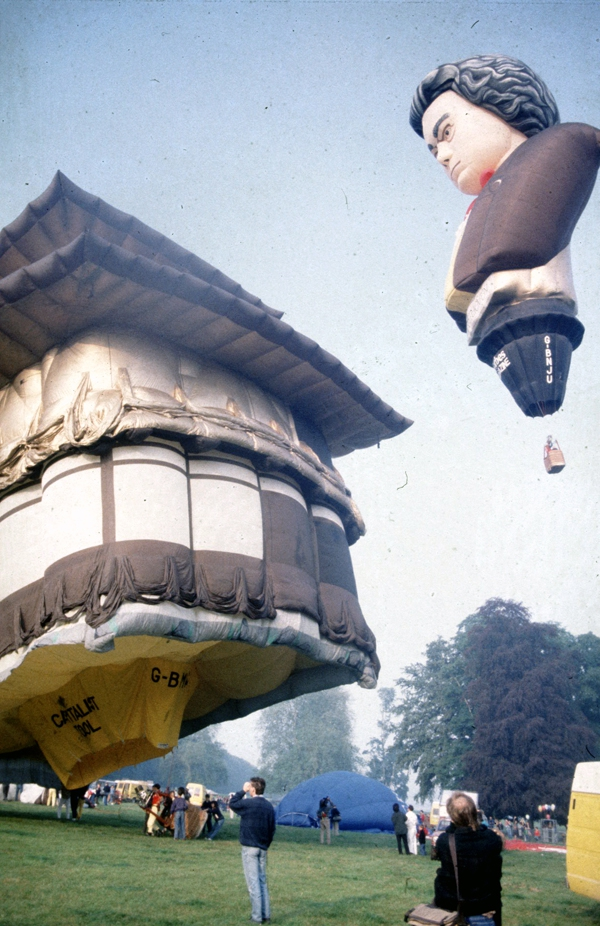Beethovens head hovers over a Japanese Pagoda.