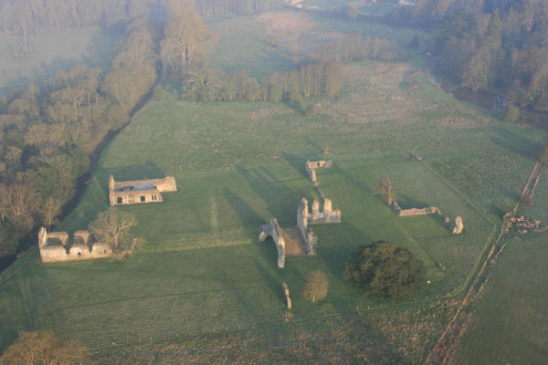 Ballooning in Surrey at dawn over the ruins of waverely abbey