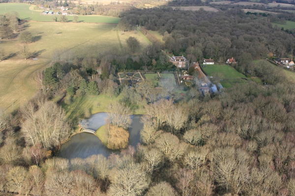 Balloon flight over The National Trust West Green House near Hartley Wintney.