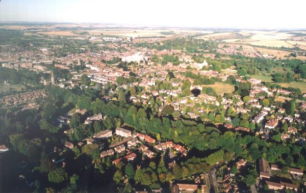 Aerial view of Winchester Cathedral and Winchester City Centre