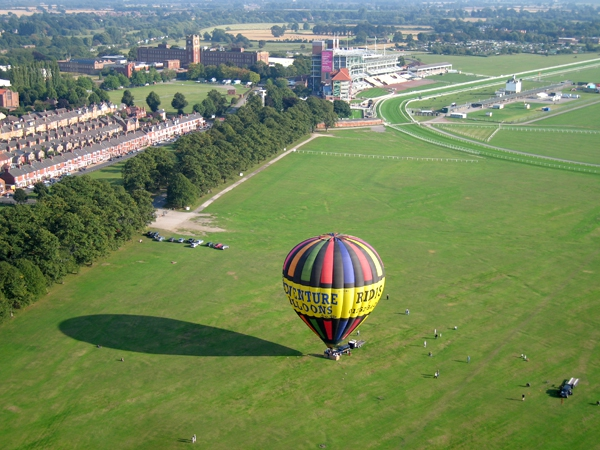 Hot Air Balloon flight ready for take off from York Racecourse
