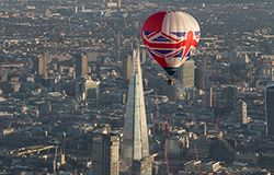Our Union Jack Hot Air Balloon makes a London balloon flight past Shard