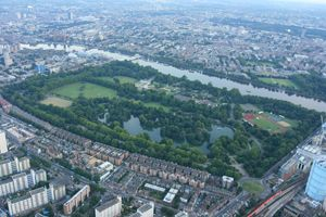 Aerial image of Battersea Park from our air balloon rides over London