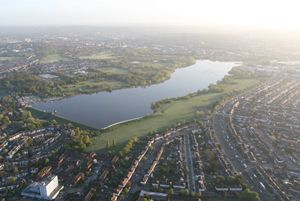 An aerial view of Brent Reservoir taken looking from the South West by hot air balloon rides over London